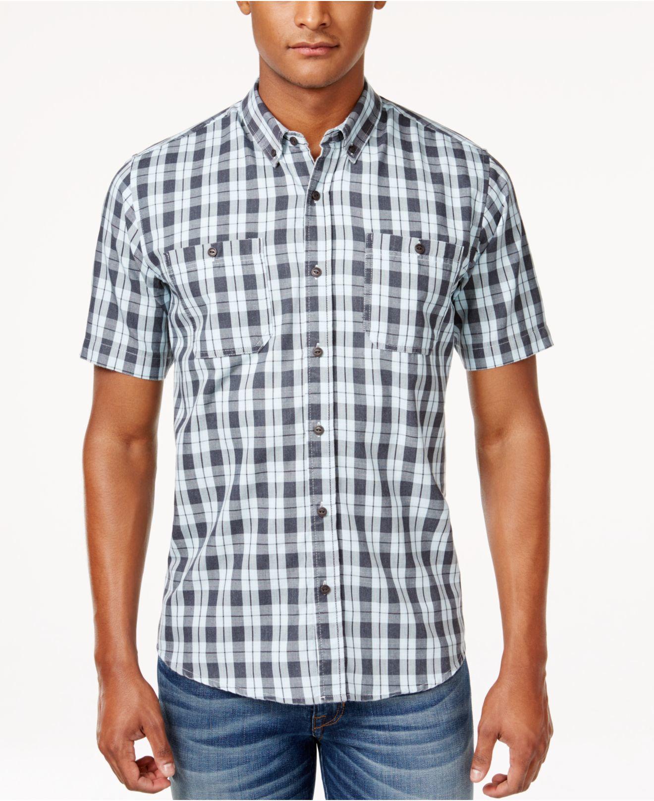 Ezekiel men 39 s macklemore plaid short sleeve shirt in blue for Light blue short sleeve shirt mens