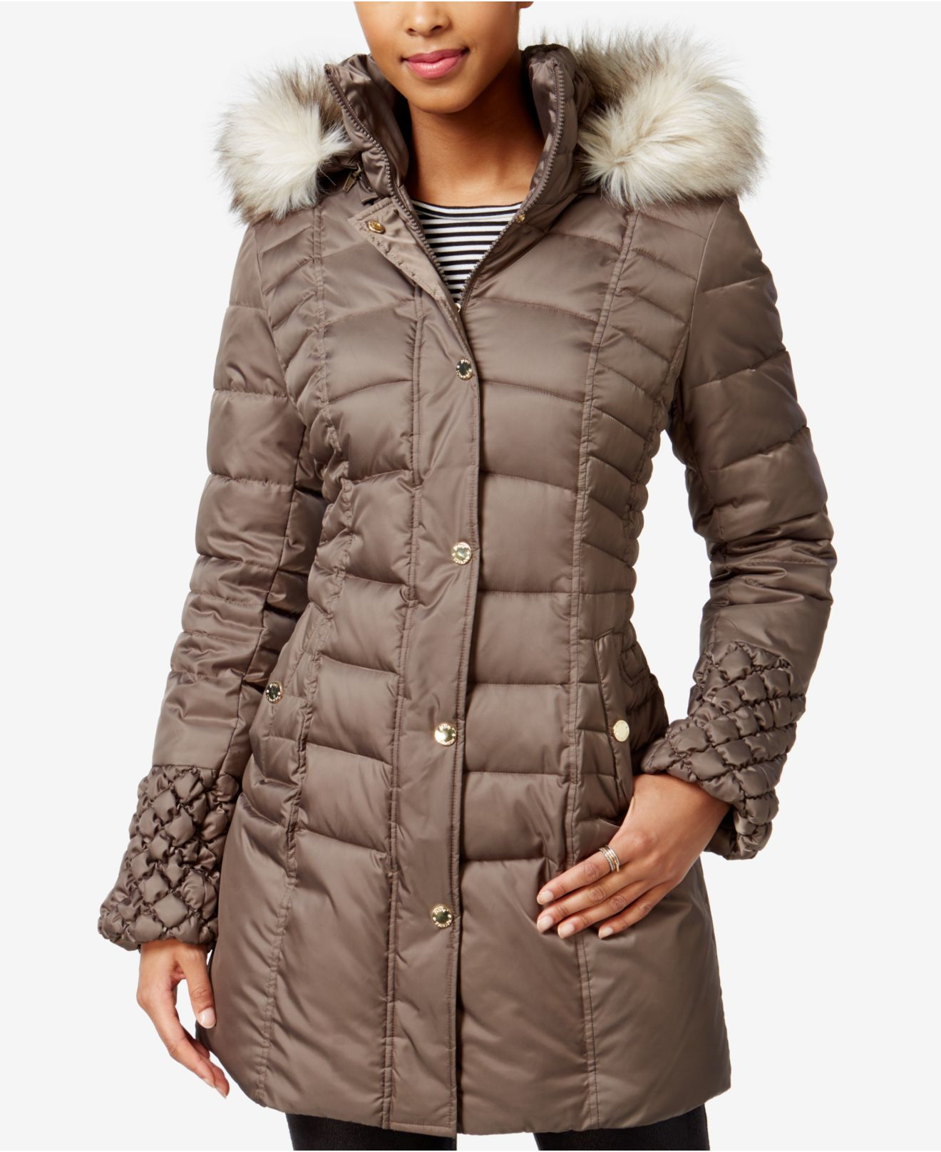 Betsey Johnson Faux Fur Trim Quilted Puffer Coat Lyst