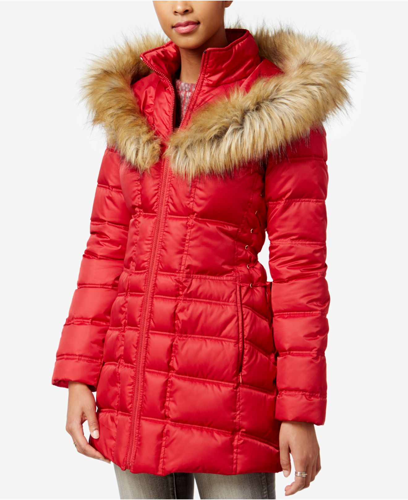 Betsey Johnson Faux Fur Trim Corset Puffer Coat In Red Lyst