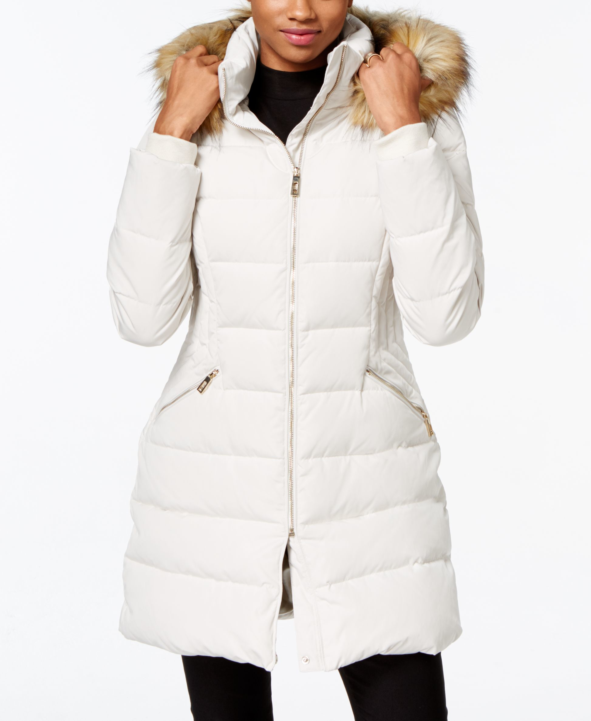 Ivanka trump Faux-fur-trim Down Puffer Coat in White | Lyst
