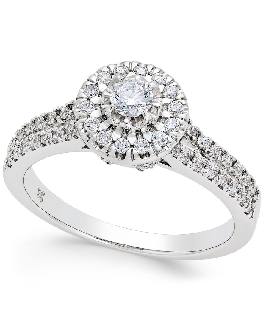 Macy s Diamond Halo Engagement Ring 1 2 Ct T w In 14k White Gold in M