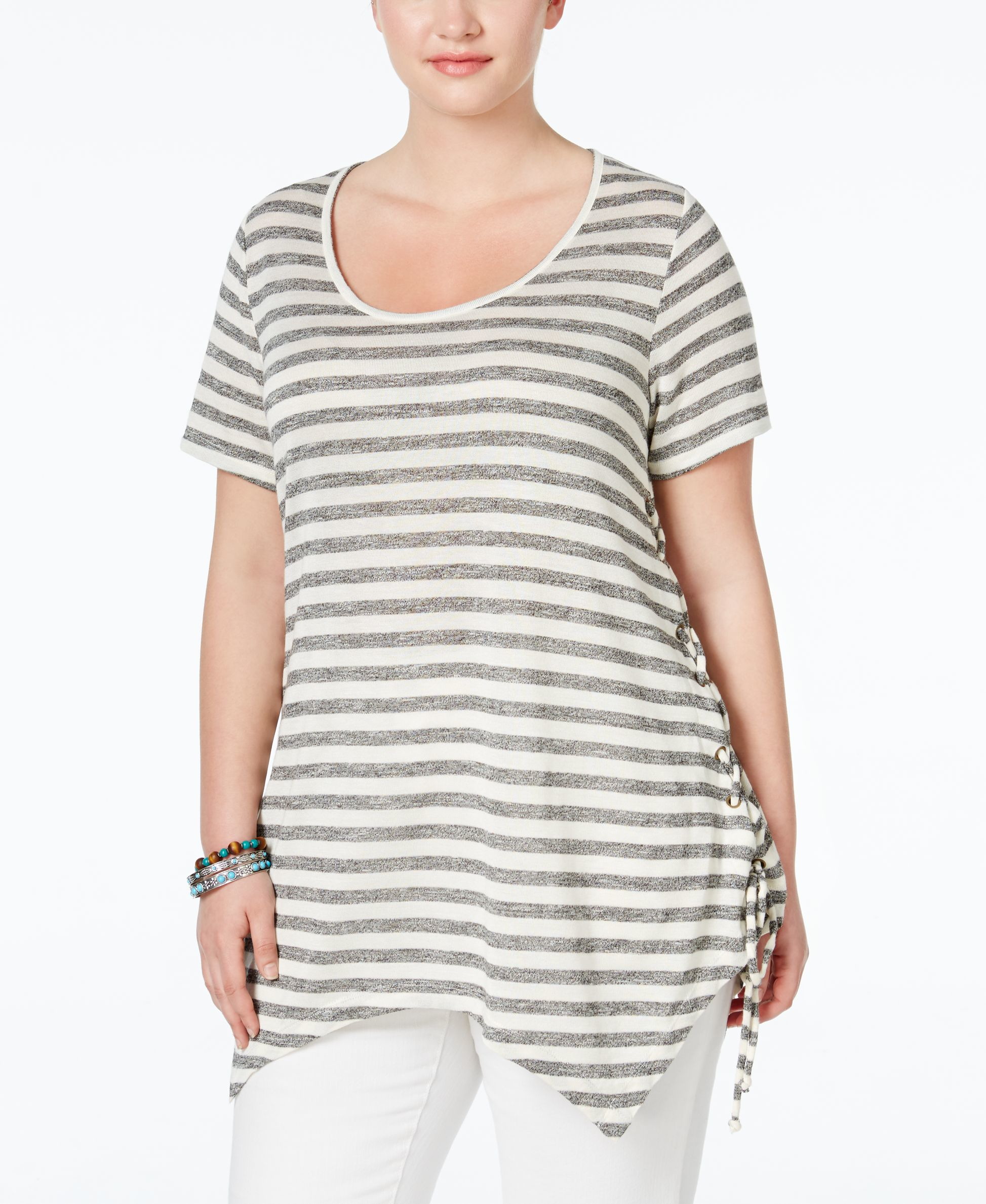 American Rag Trendy Plus Size Striped Handkerchief Hem T