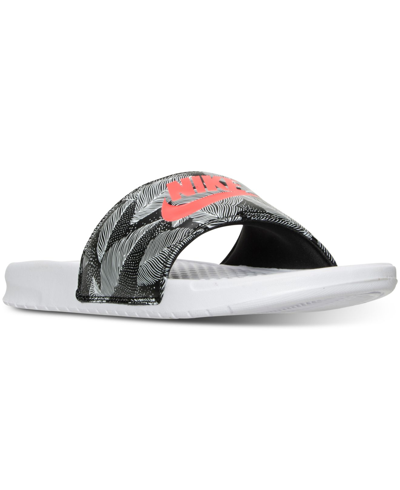 detailed look 82fe7 f50a9 Nike Men s Benassi Jdi Print Slide Sandals From Finish Line in White ...