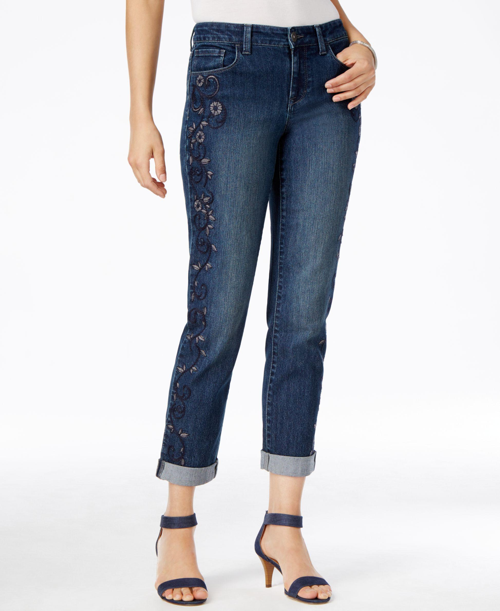 Style Amp Co Embroidered Boyfriend Jeans Only At Macy39s  Lyst