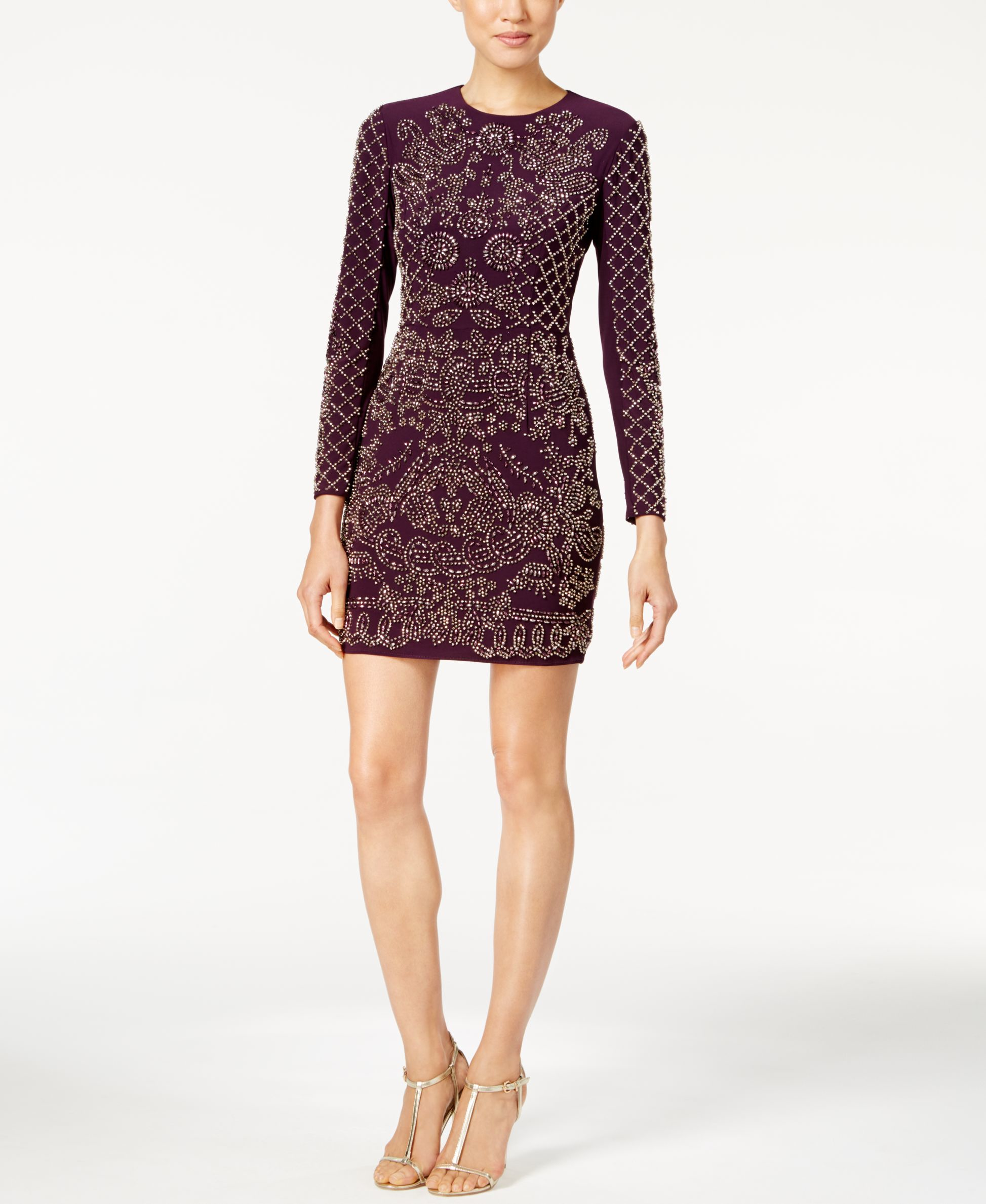 0f010897 Lyst - Xscape Laser-cut Overlay Halter Dress in Black