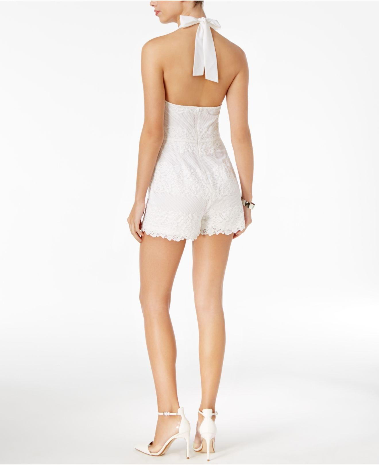 5aa4d6df225b Lyst - Guess Lexie Lace Halter Romper in White