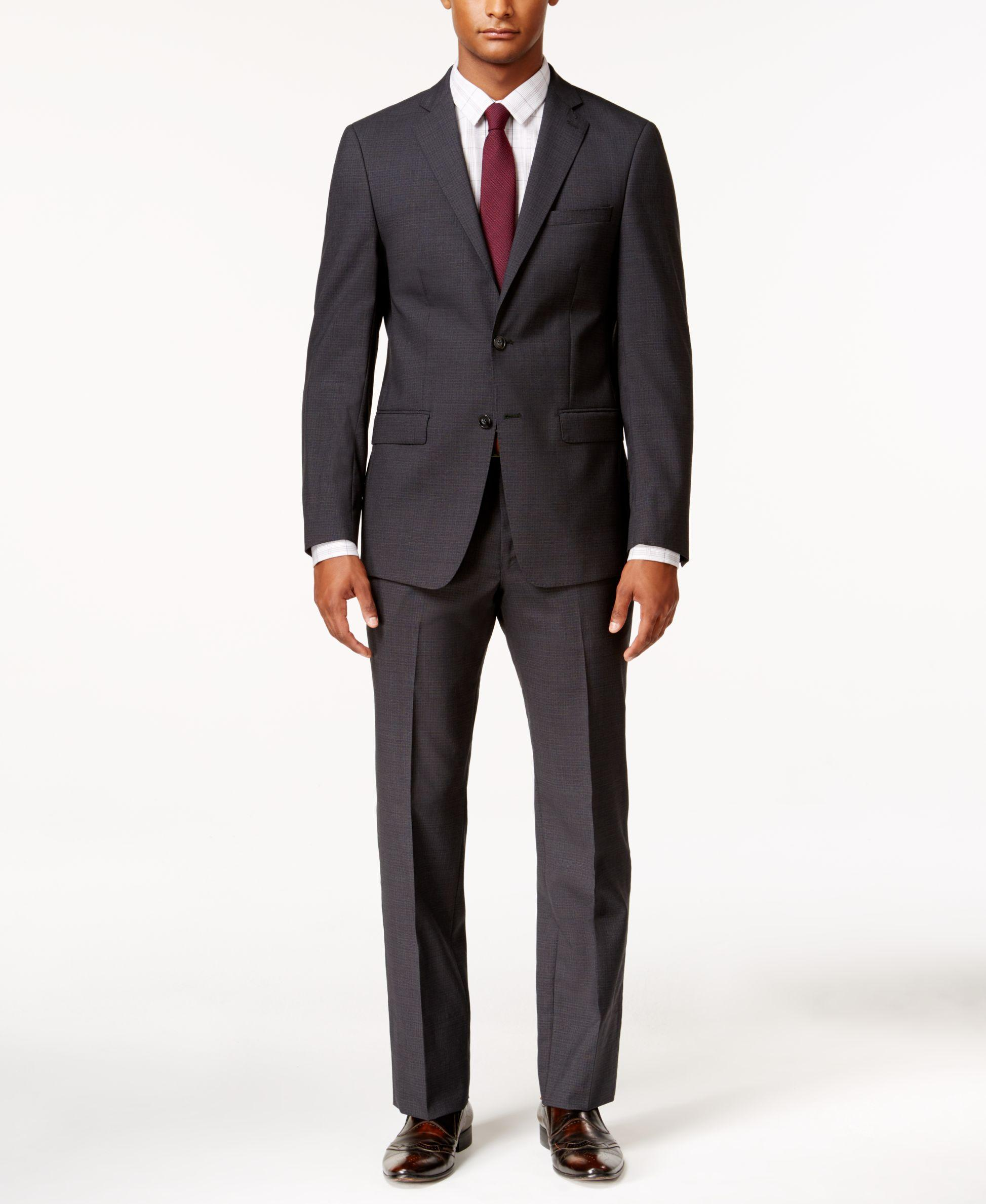 Calvin klein Men's X-fit Charcoal Grid Slim Fit Suit in ...