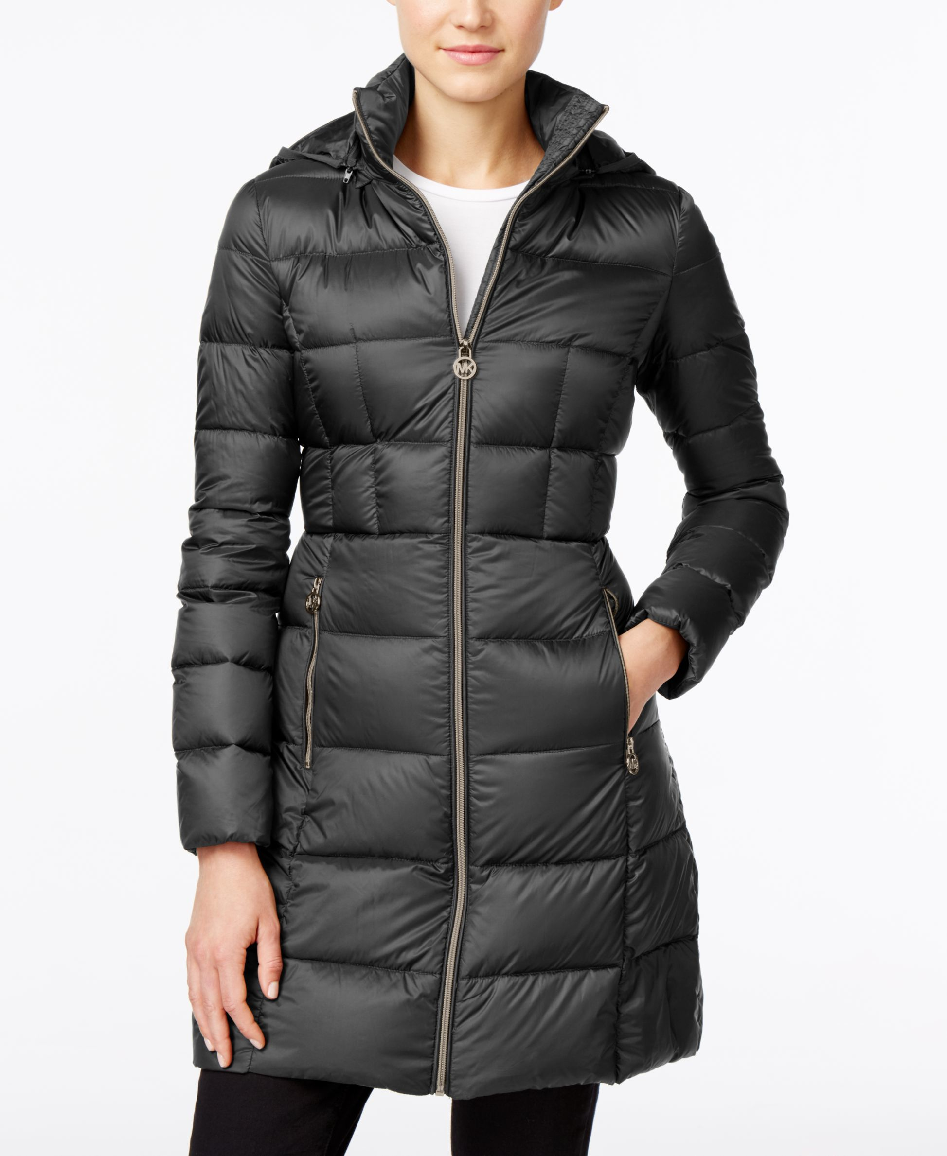 Michael Kors Michael Petite Hooded Packable Puffer Coat In