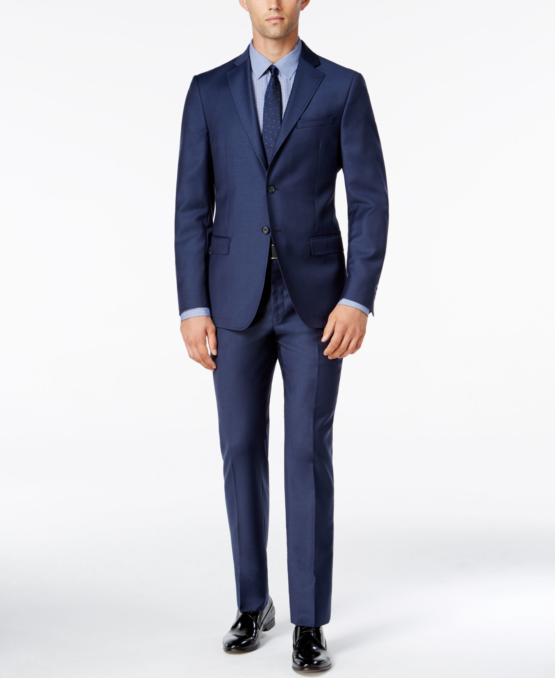 Dkny men 39 s slim fit blue flannel suit in blue for men lyst for Mens slim fit flannel shirt