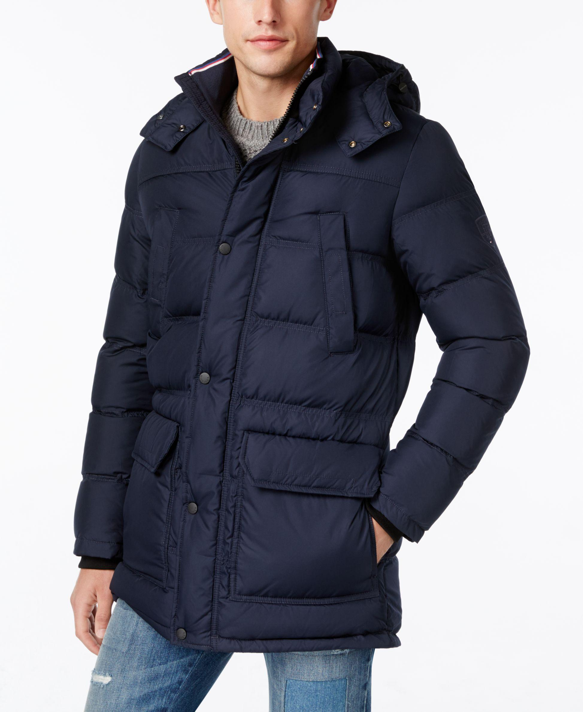 tommy hilfiger men 39 s jameson quilted parka in blue lyst. Black Bedroom Furniture Sets. Home Design Ideas