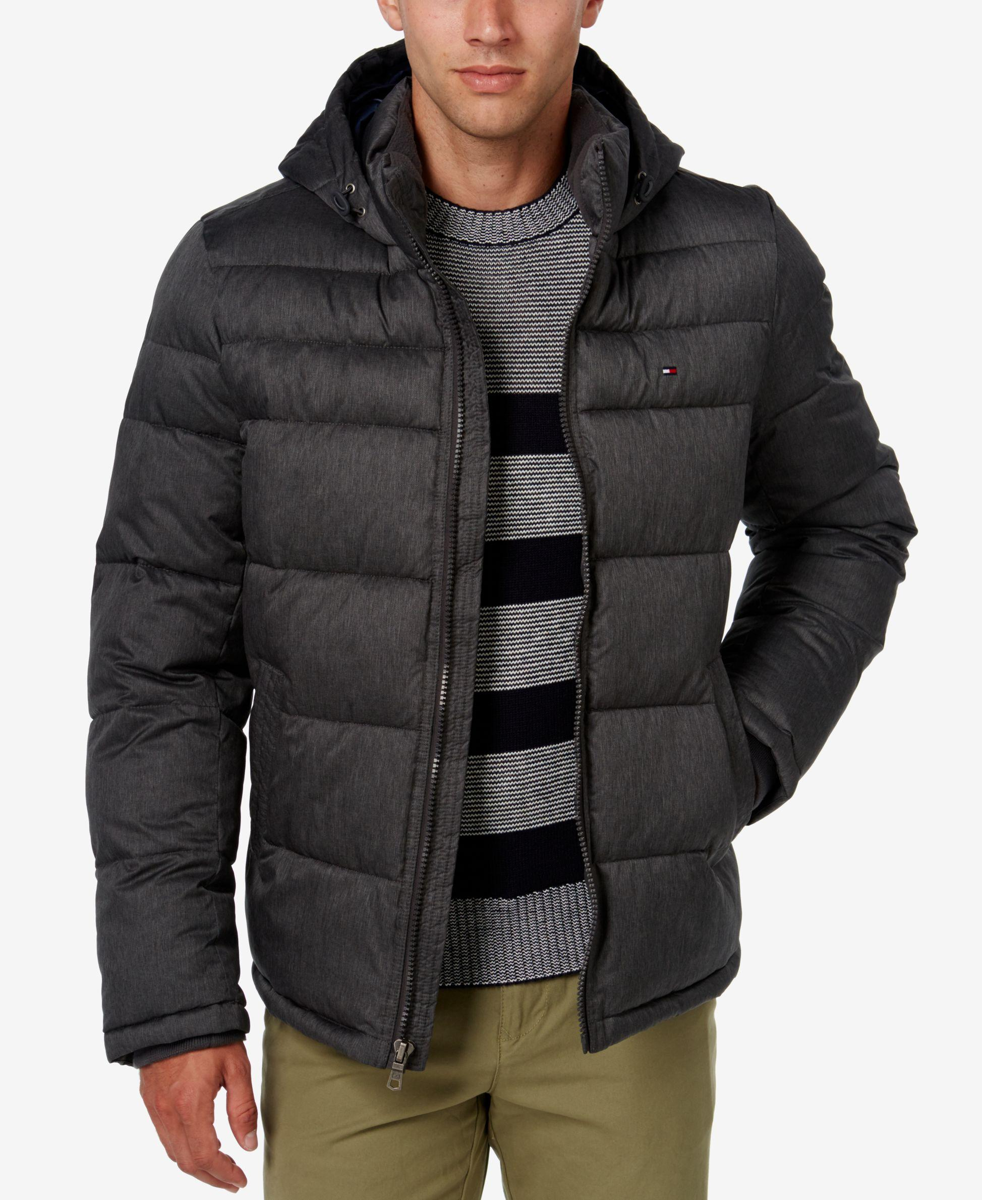 tommy hilfiger men 39 s classic hooded puffer jacket in black for men lyst. Black Bedroom Furniture Sets. Home Design Ideas