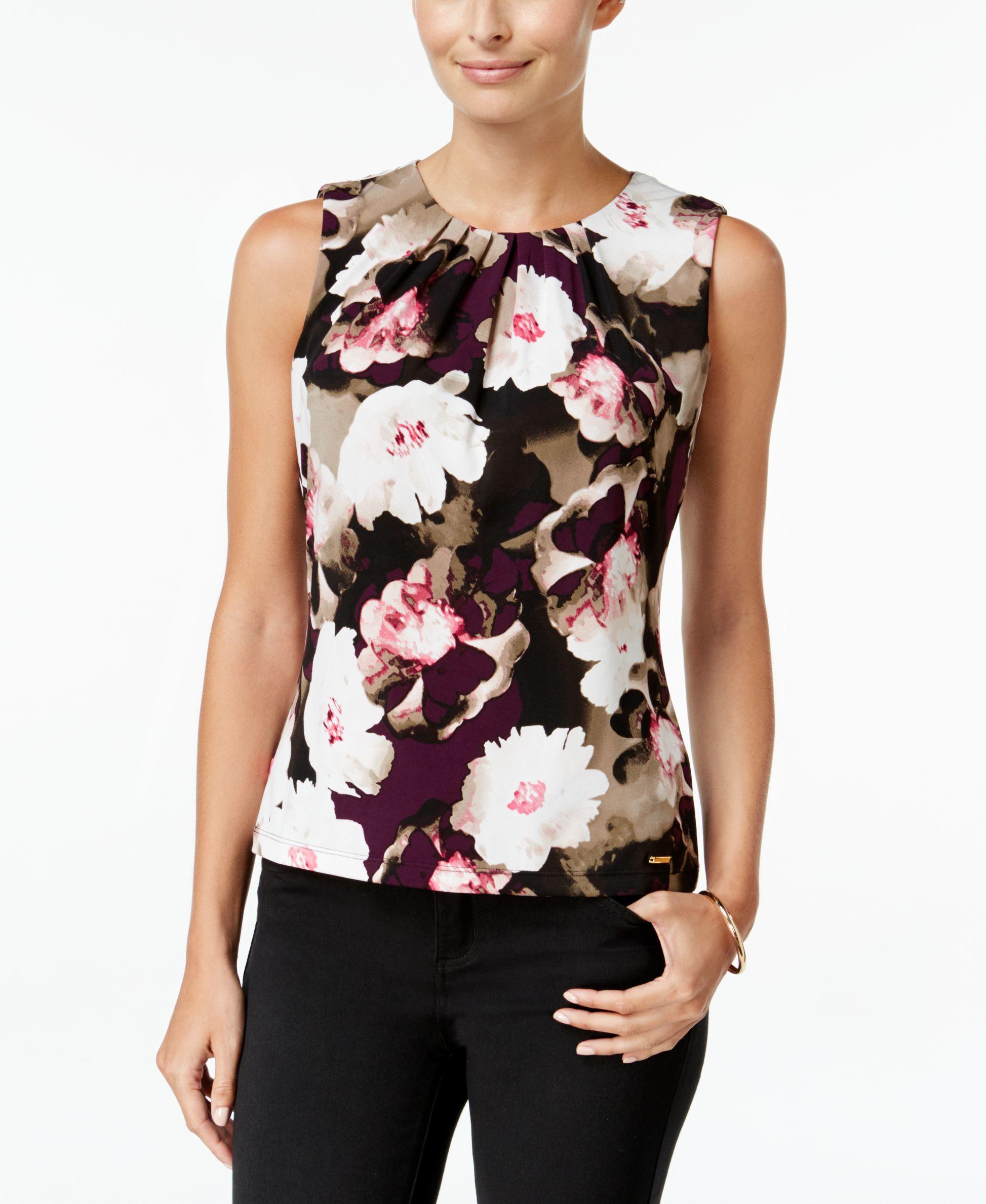 cb6319a5eb276 Lyst - Calvin Klein Floral-print Pleat-neck Top