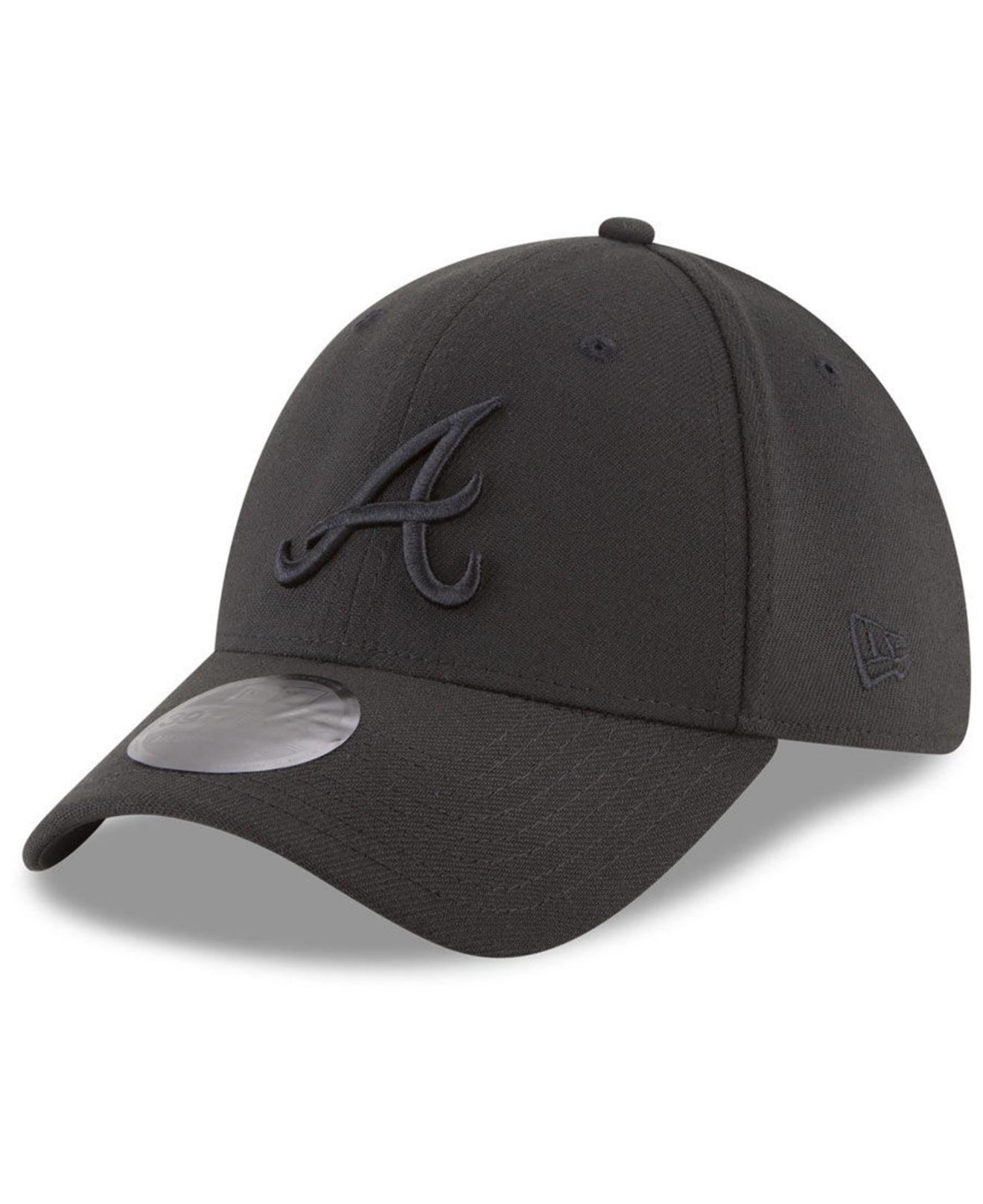 df04eb2f707 KTZ - Atlanta Braves Blackout 39thirty Cap for Men - Lyst. View fullscreen