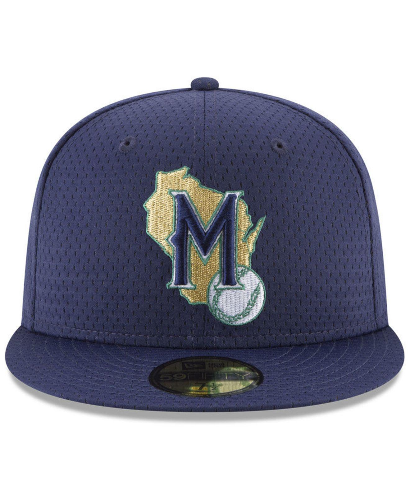 hot sale online f6616 43f38 KTZ Milwaukee Brewers Retro Classic Batting Practice 59fifty Fitted Cap in  Blue for Men - Save 8% - Lyst