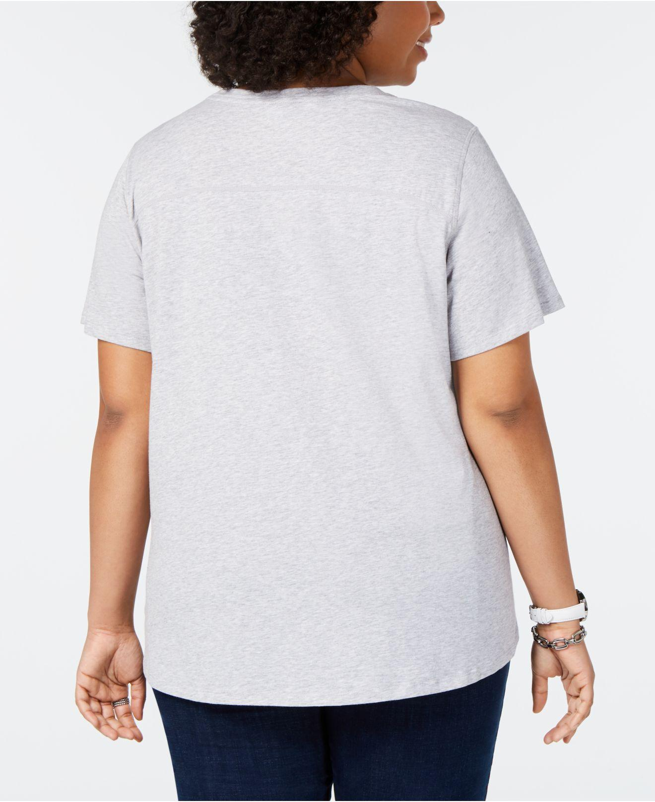 2b197f2c6 Lyst - Tommy Hilfiger Plus Size Logo Graphic T-shirt, Created For Macy's