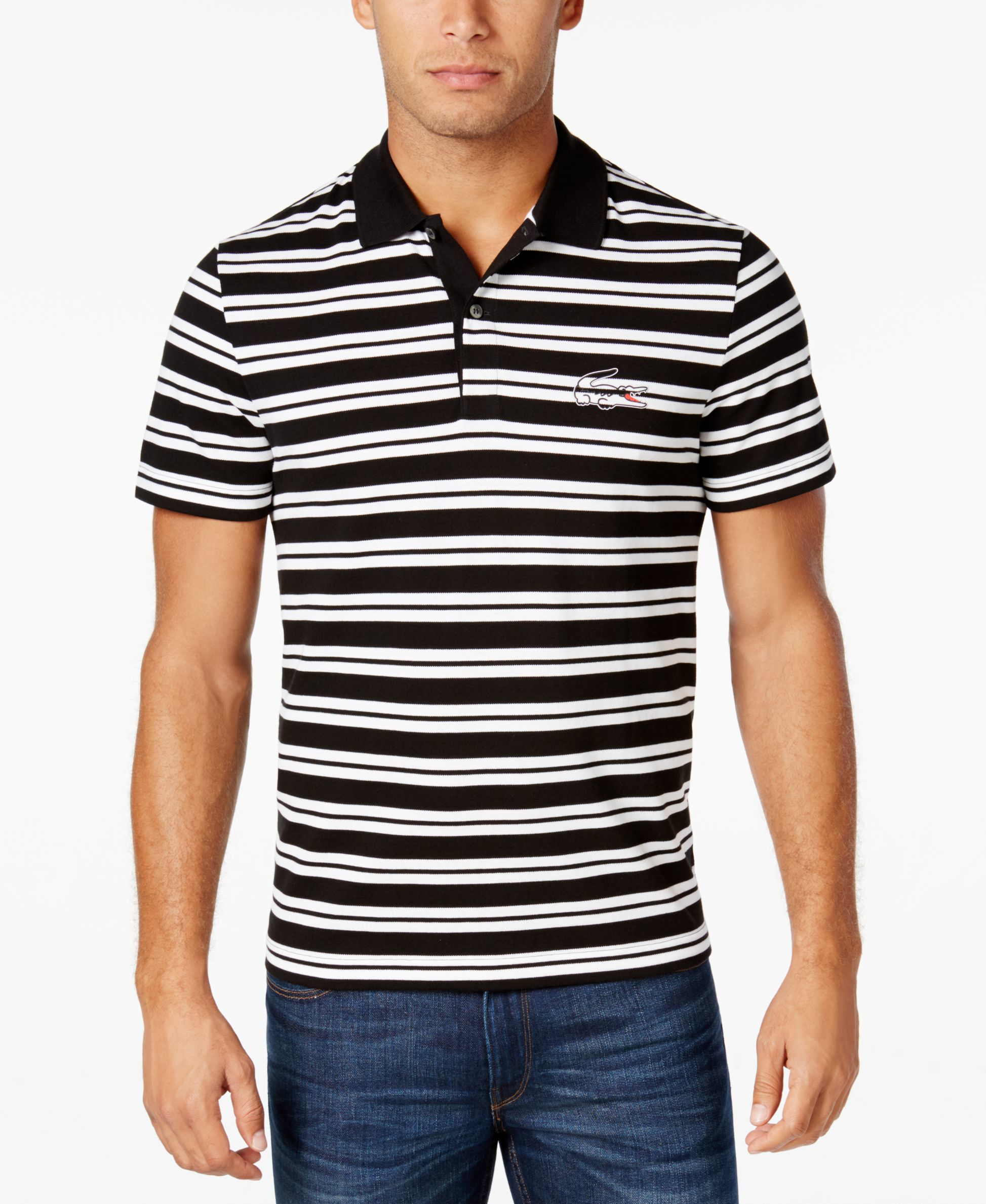 Lacoste men 39 s pique striped polo in black for men lyst for Lacoste stripe pique polo shirt