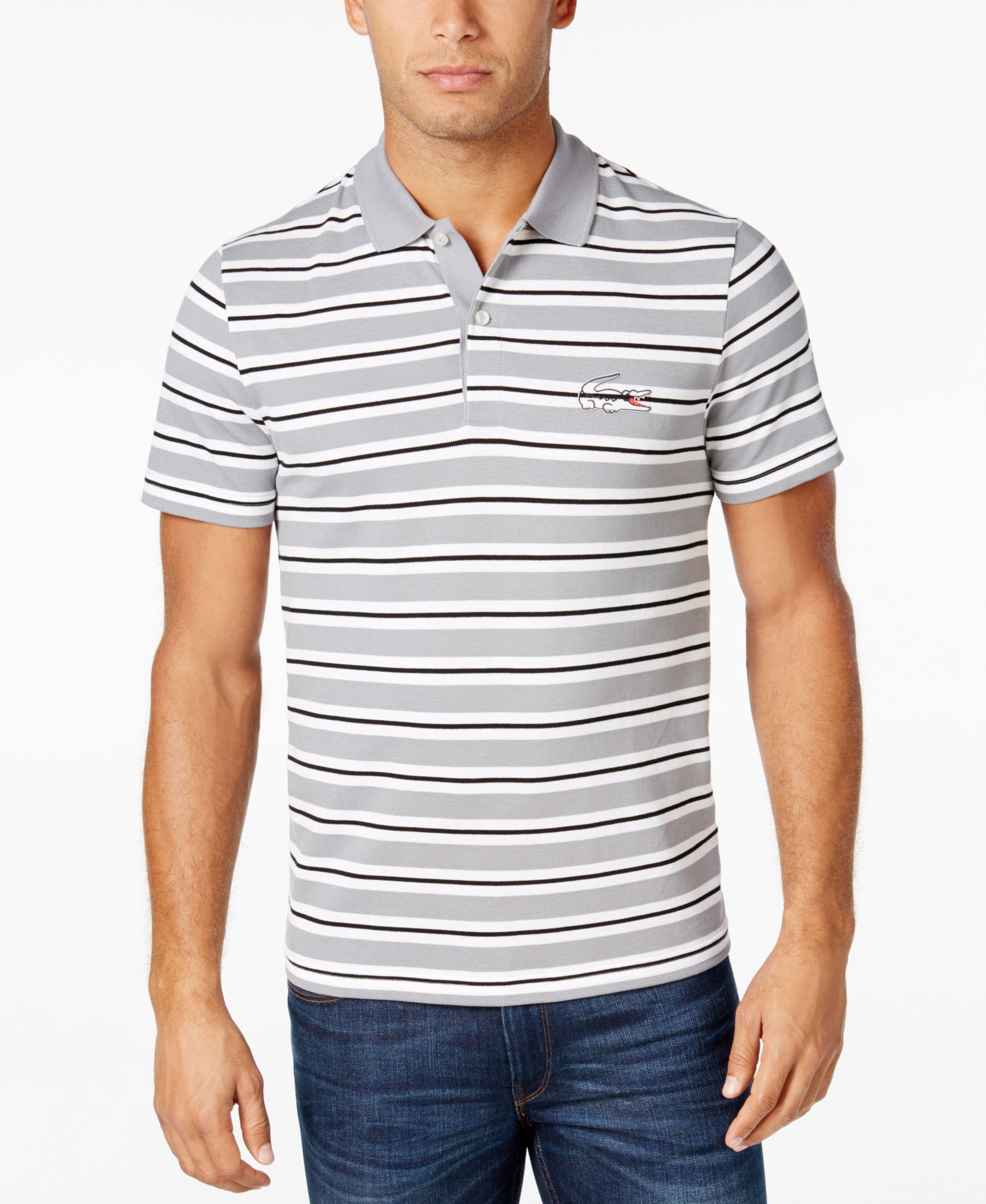 Lyst lacoste men 39 s pique striped polo in white for men for Lacoste stripe pique polo shirt