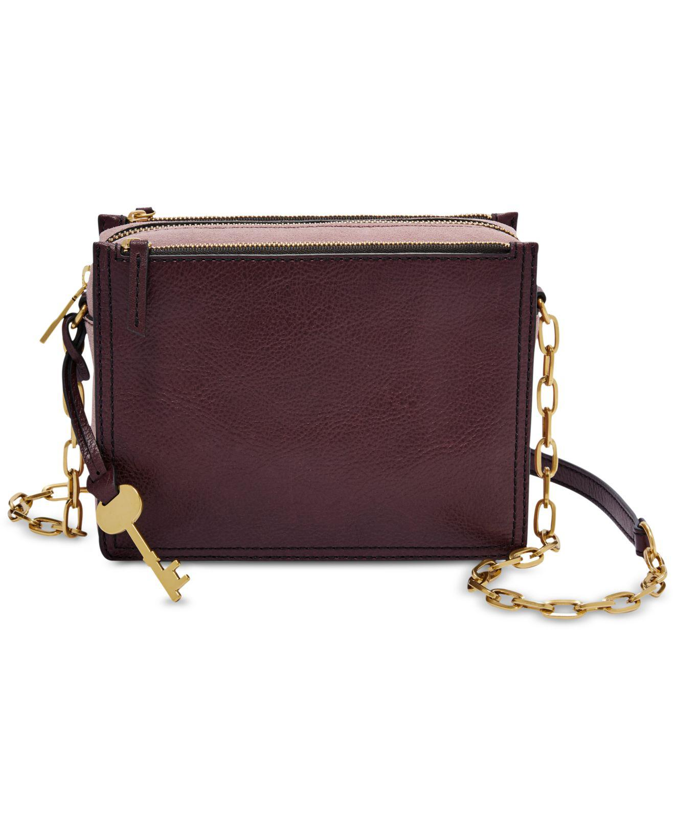 10b32fd03c4b Lyst - Fossil Campbell Leather Chain Crossbody - Save 25%