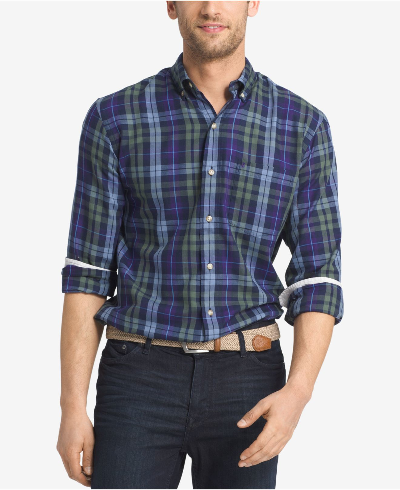 Izod men 39 s plaid button down long sleeve shirt in blue for for Izod button down shirts