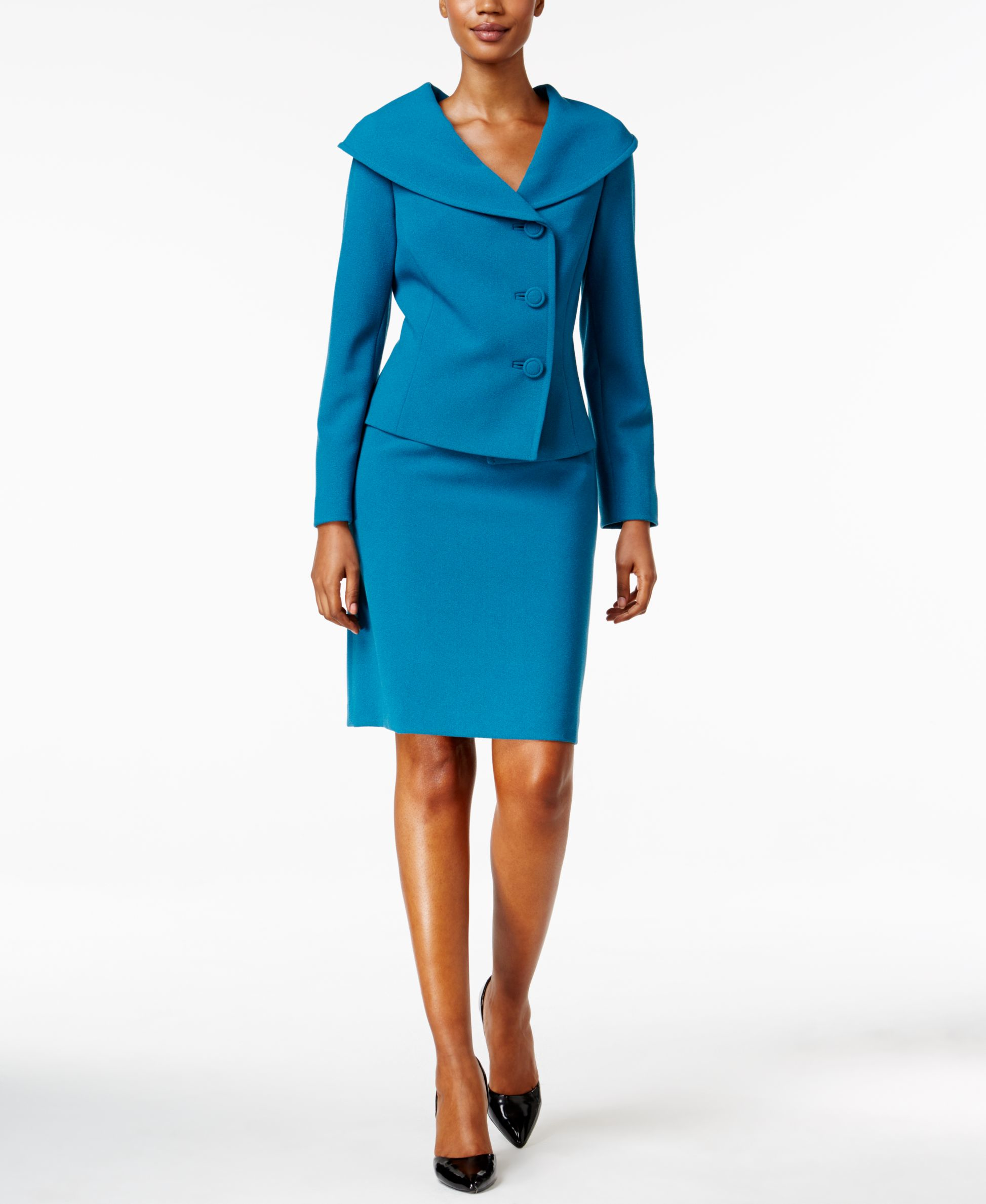 tahari portrait collar skirt suit in blue lyst