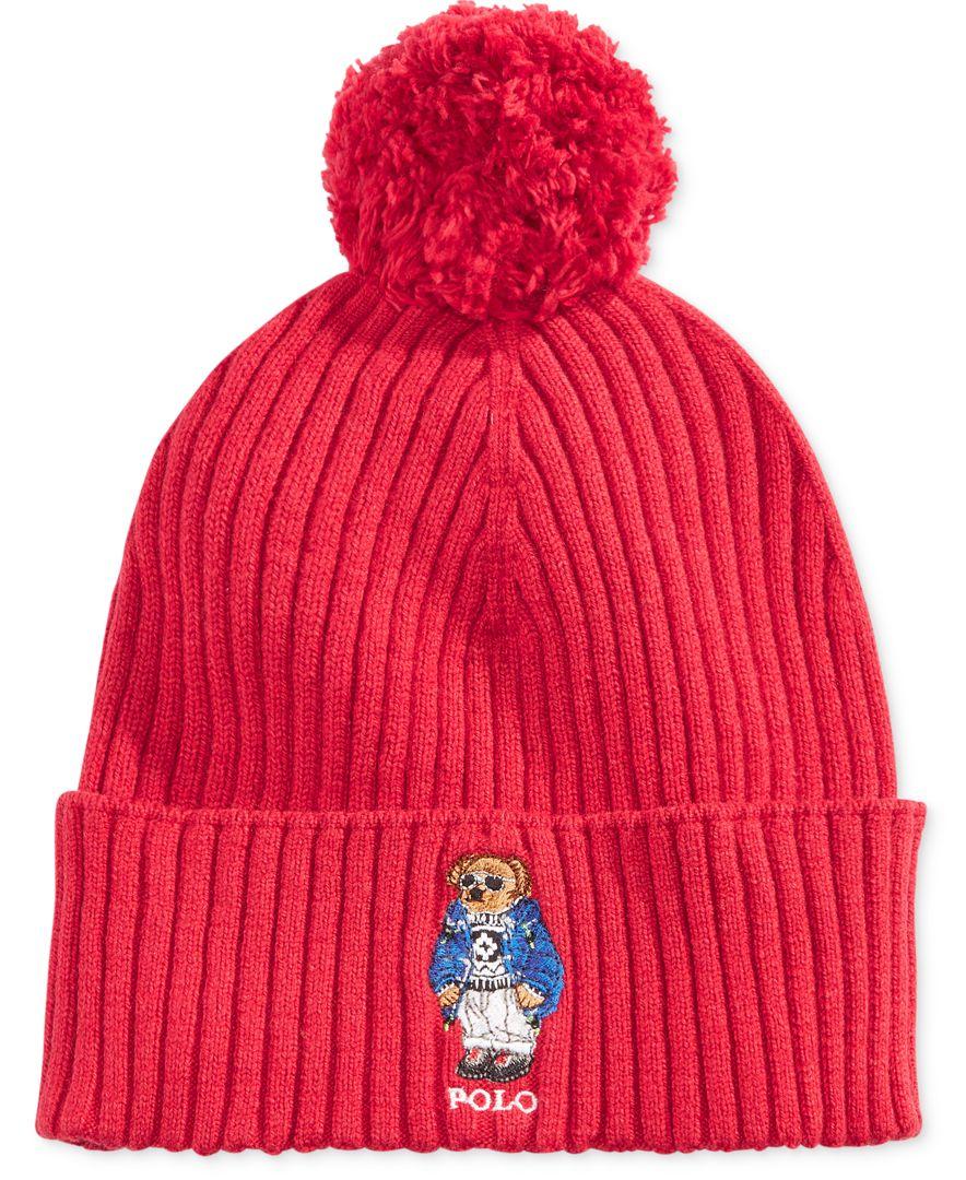 Lyst - Polo Ralph Lauren Men s Ski Bear Pom-pom Hat in Red for Men 93c3e0f821e