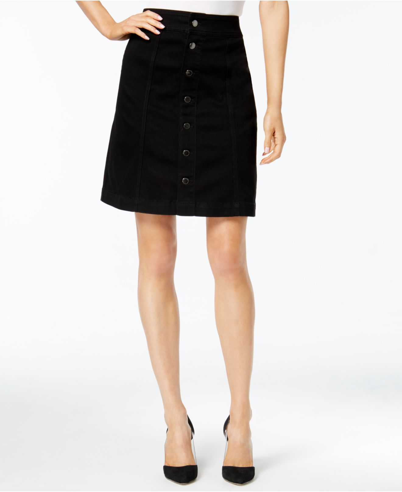 charter club button front denim skirt only at macy s in