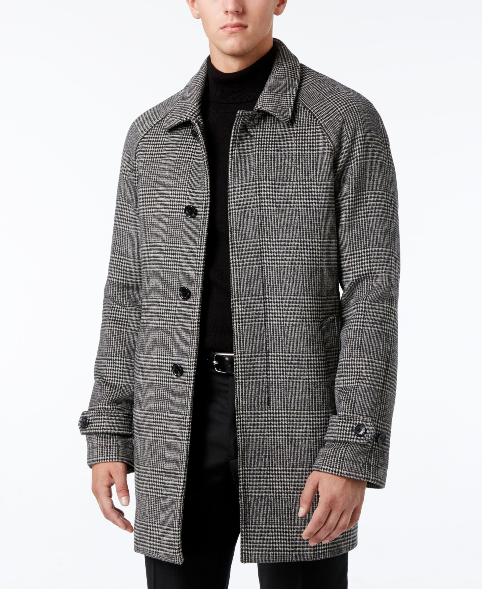 New Lyst - Michael Kors Men's Slim-fit Glen Plaid Overcoat in Black  UT64