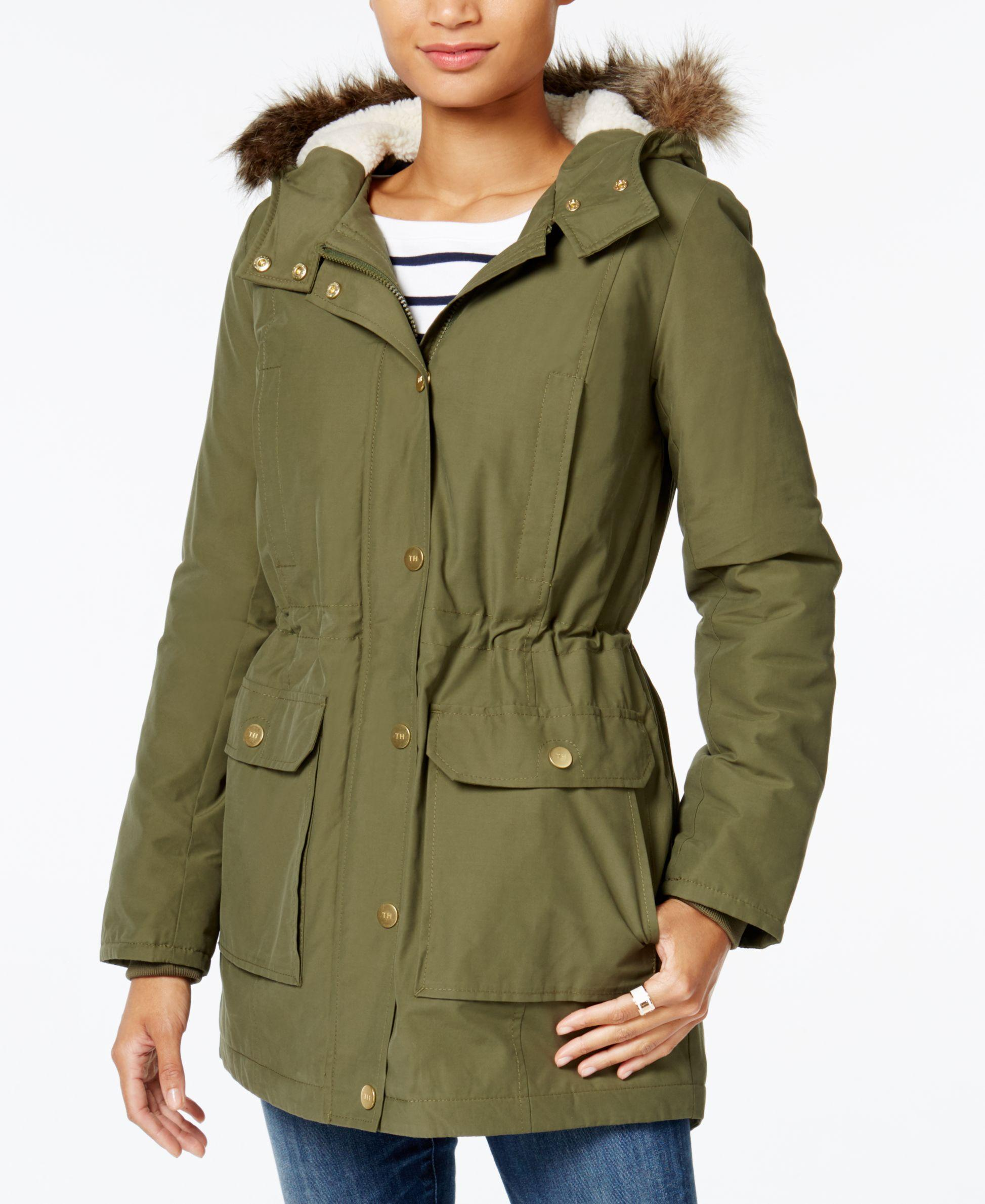 tommy hilfiger faux fur trim hooded parka only at macy 39 s in green. Black Bedroom Furniture Sets. Home Design Ideas