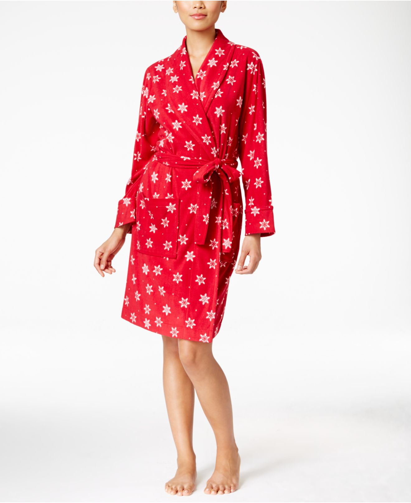 Charter Club Printed Wrap Robe In Red