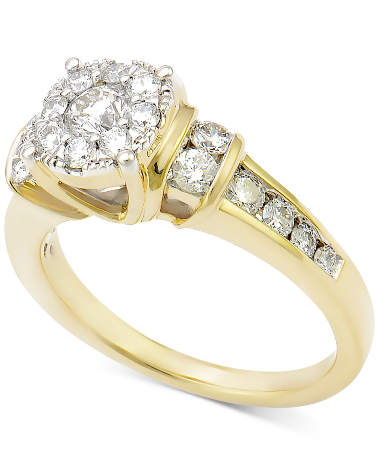 Macy s Diamond Cluster Engagement Ring 1 Ct T w In 14k Gold in Metall