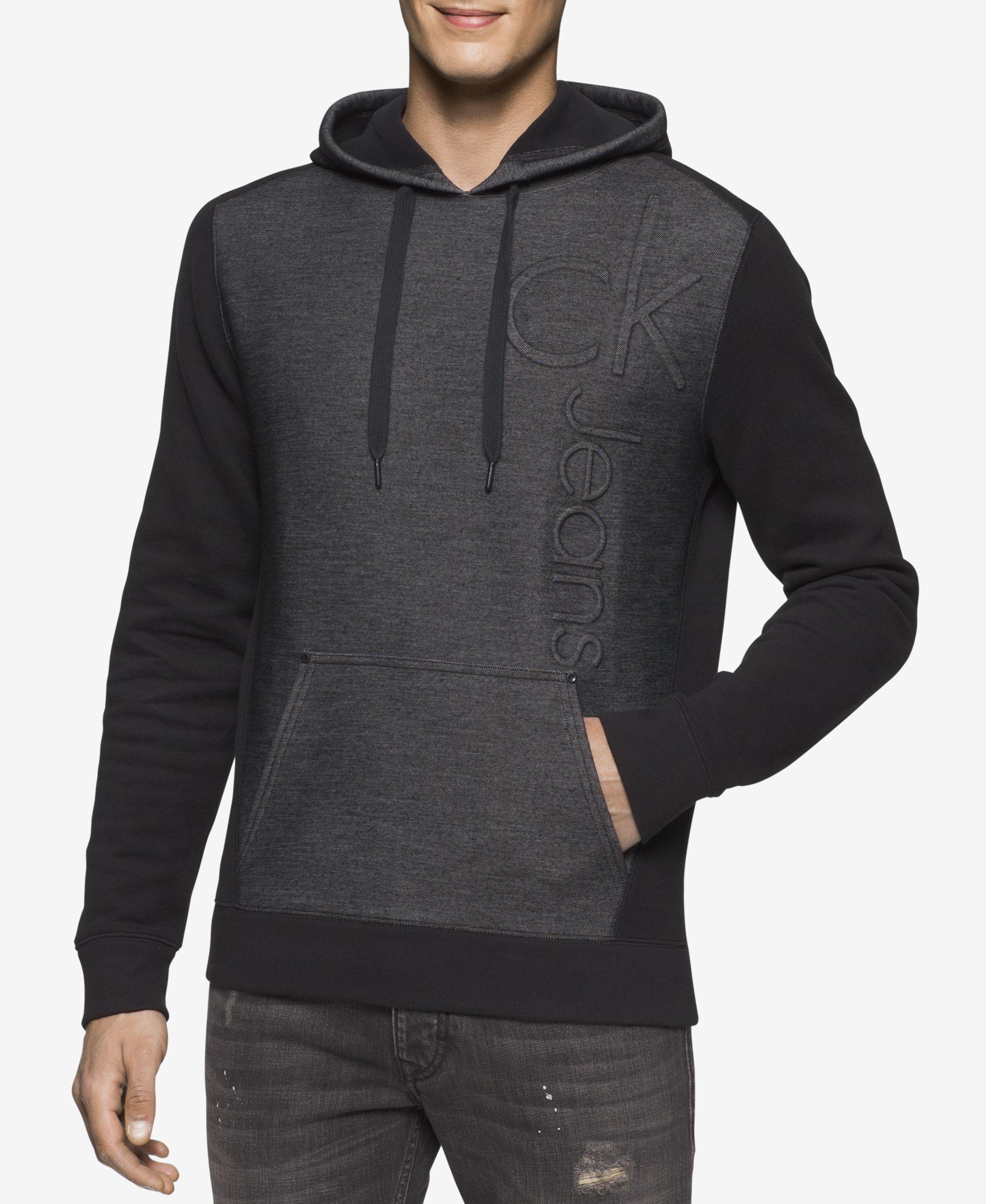 calvin klein jeans men 39 s colorblocked embossed logo hoodie in black for men lyst. Black Bedroom Furniture Sets. Home Design Ideas