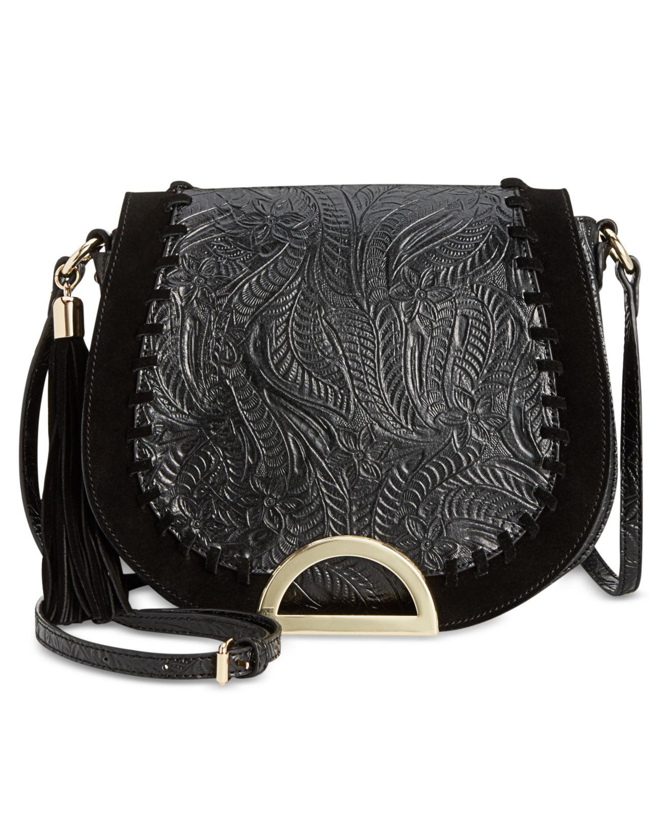 84e277c9d491 Lyst - INC International Concepts Maraa Embossed Small Saddle Bag in ...