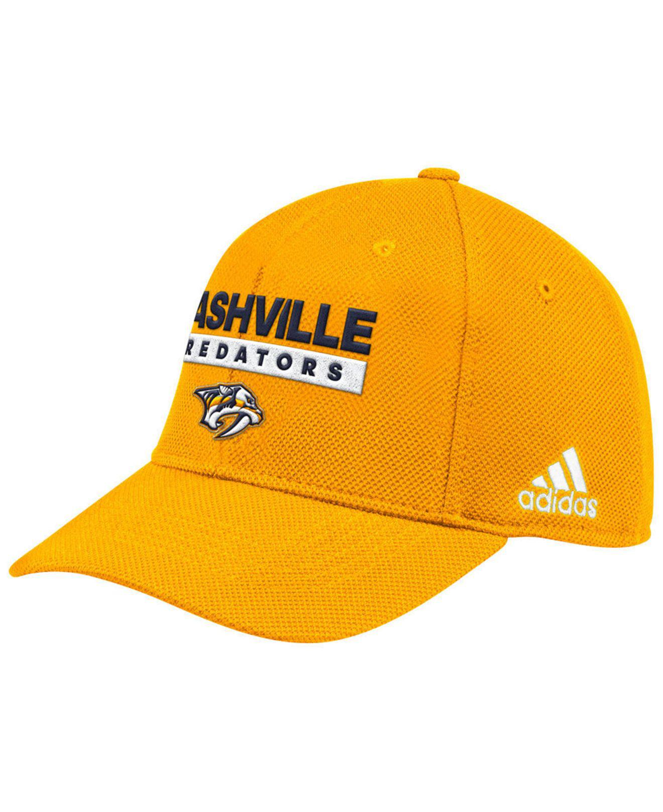 low priced 01822 fcaa7 ... promo code for adidas yellow nashville predators stanley cup playoff  patch cap for men lyst.