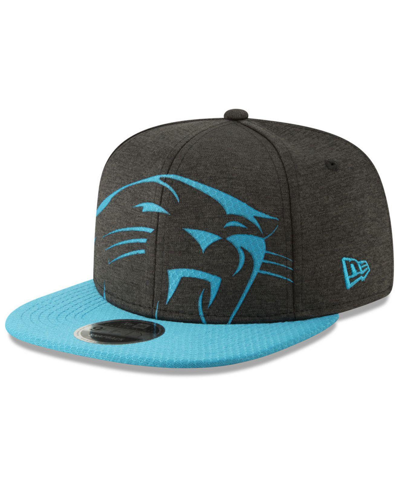 1b0806b0cf0 KTZ. Men s Black Carolina Panthers Oversized Laser Cut 9fifty Snapback Cap