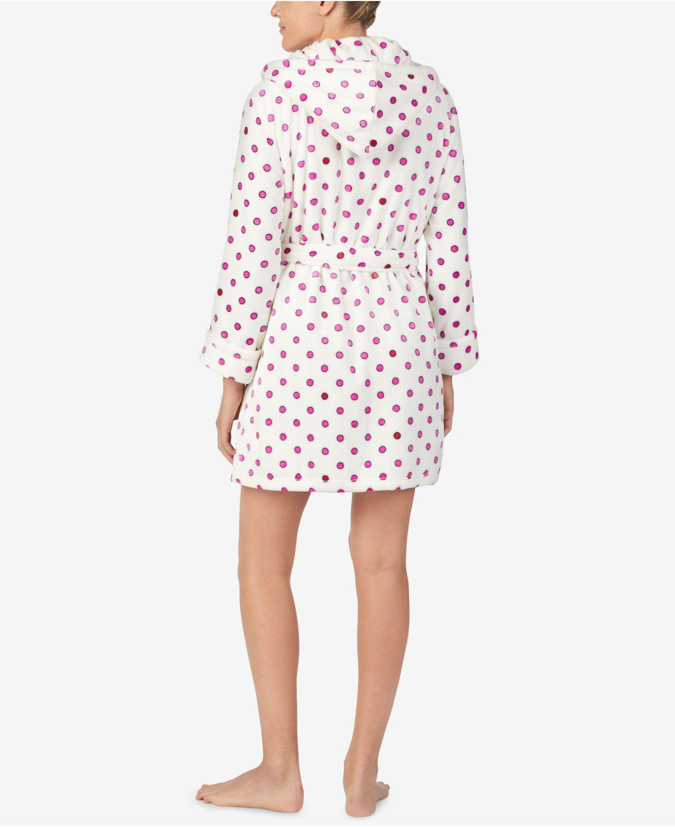bd6ae3a0ef Lyst - Betsey Johnson Printed Plush Short Robe in White - Save 7%
