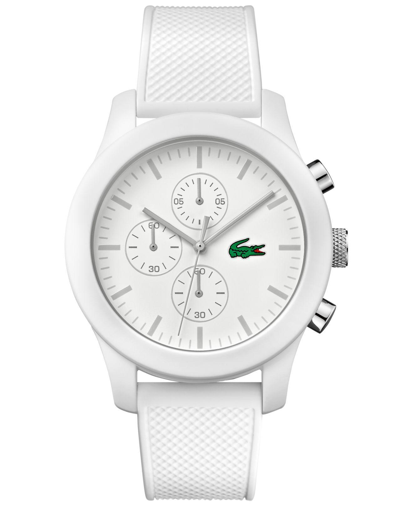 Lacoste. Men's Chronograph 12.12 White Silicone Strap Watch ...