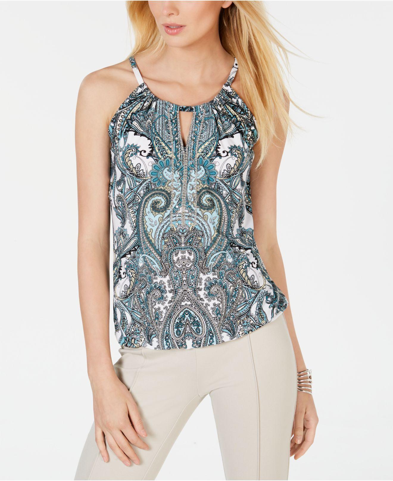 99cfc7f310c36 INC International Concepts. Women s Blue I.n.c. Embellished Halter Top ...