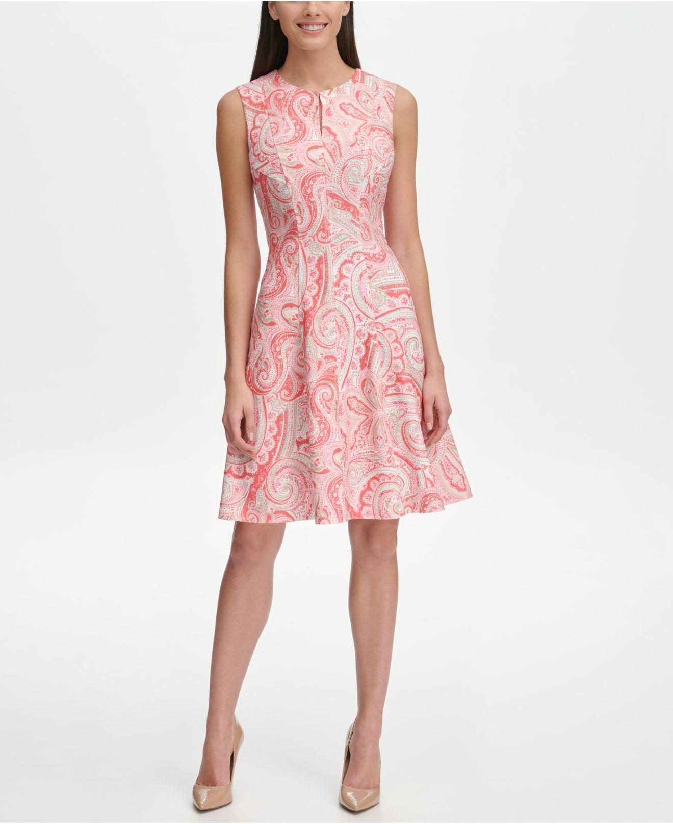 f9762625 Lyst - Tommy Hilfiger Fresco Paisley Fit-&-flare Dress in Pink