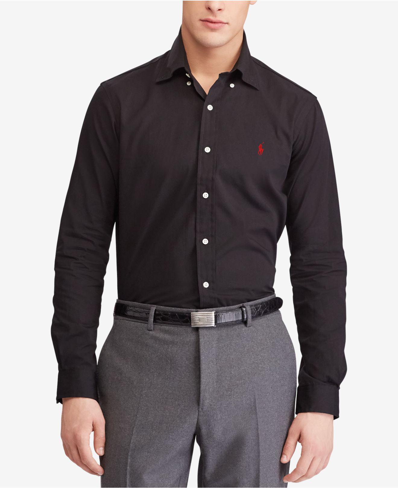0555b18a8 Polo Ralph Lauren Slim Fit Poplin Shirt in Black for Men - Lyst