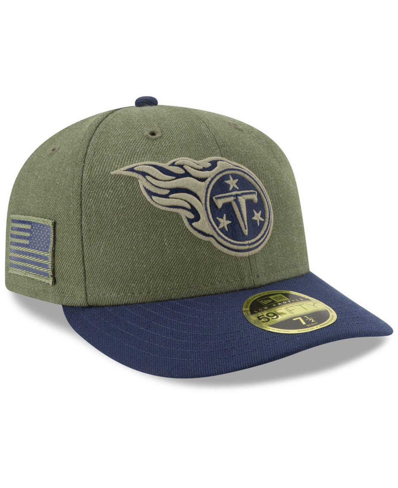 4d8b2ae27 KTZ. Men s Green Tennessee Titans Salute To Service Low Profile 59fifty  Fitted Cap 2018