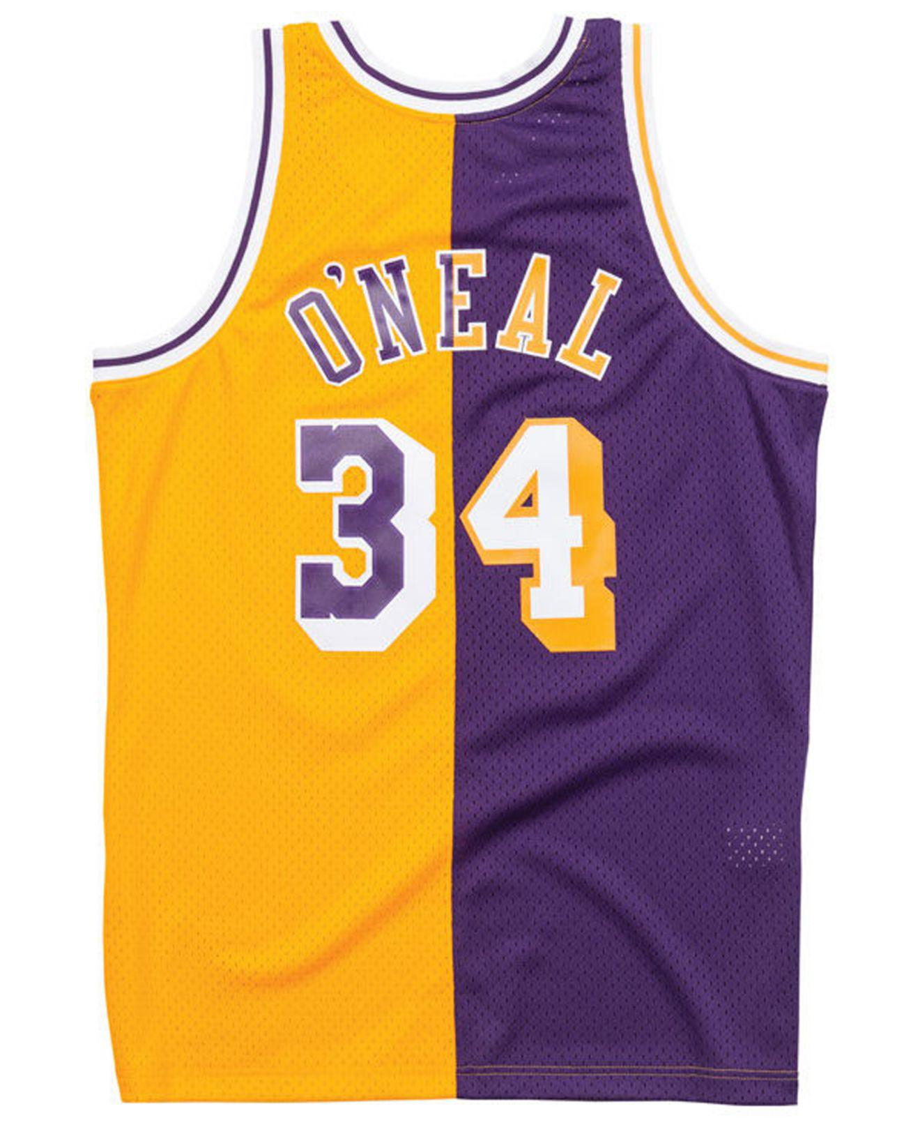 c0f66f6af738 Mitchell   Ness Shaquille O neal Los Angeles Lakers Split Swingman Jersey  in Purple for Men - Lyst