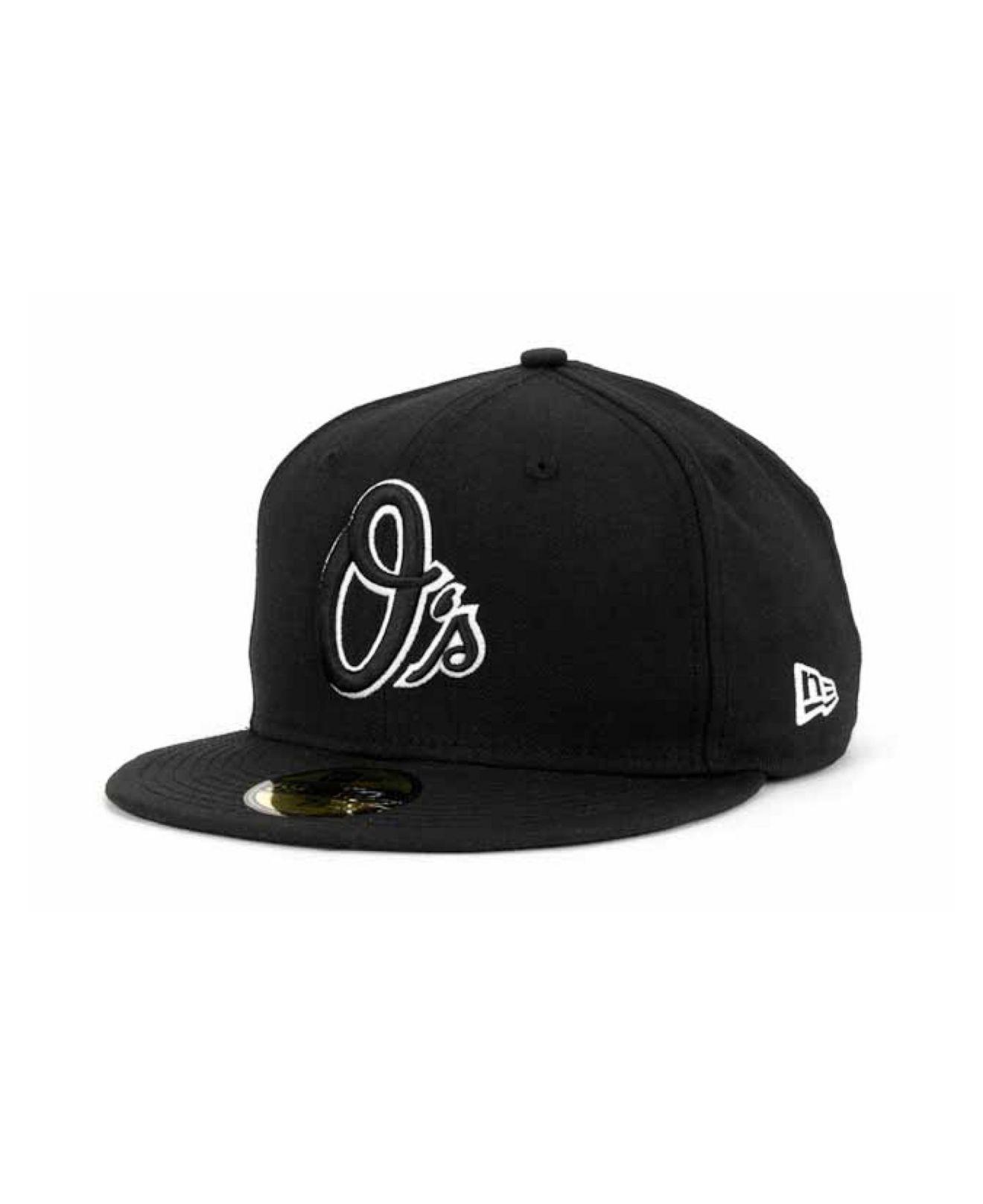 new product 843de 66592 KTZ. Men s Baltimore Orioles Black And White Fashion 59fifty Cap