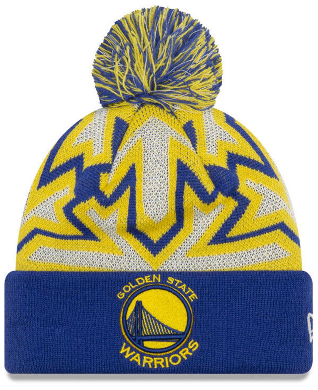 reputable site 8e1f7 8841c KTZ. Men s Yellow Golden State Warriors Glowflake Cuff Knit Hat