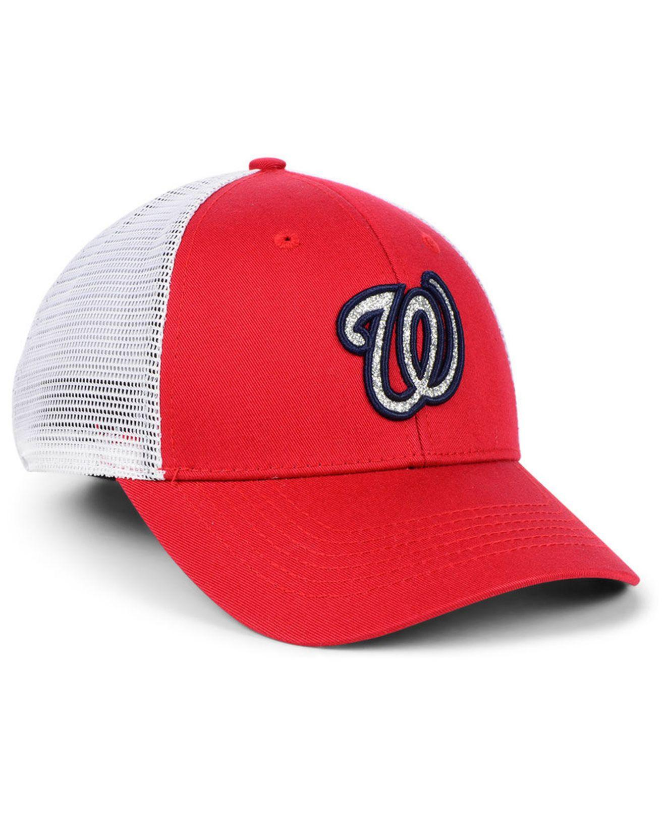 brand new 39077 7577f Lyst - 47 Brand Washington Nationals Branson Glitta Trucker Strapback Cap  in Red