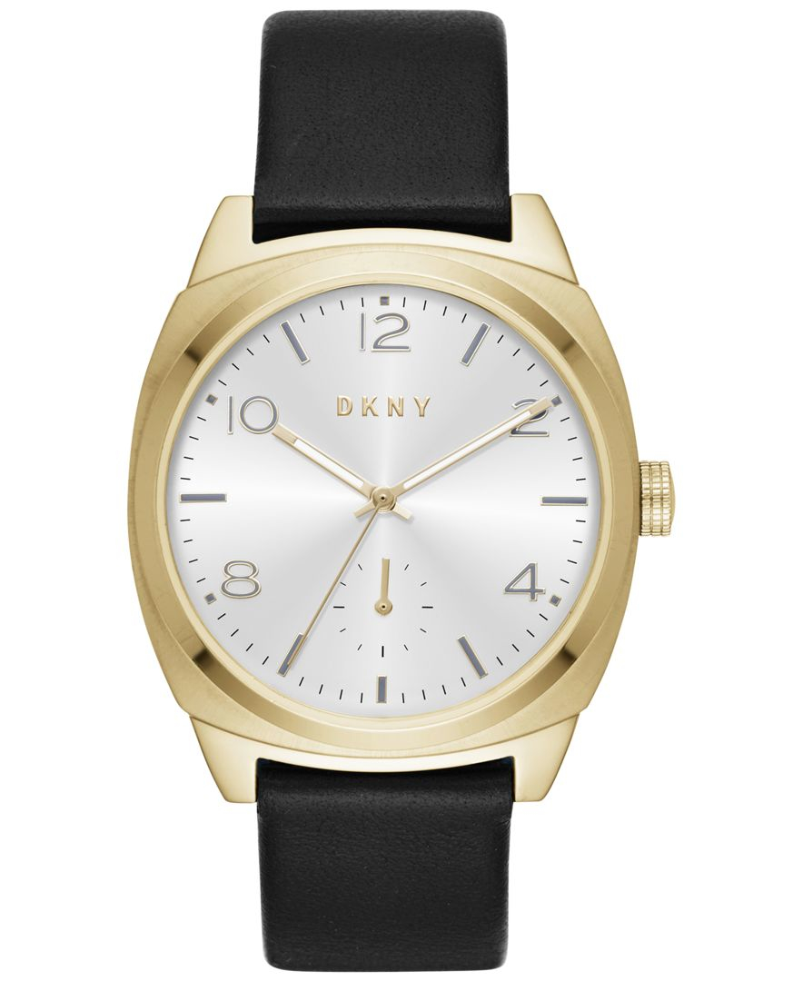 dkny s broome black leather 36mm ny2537
