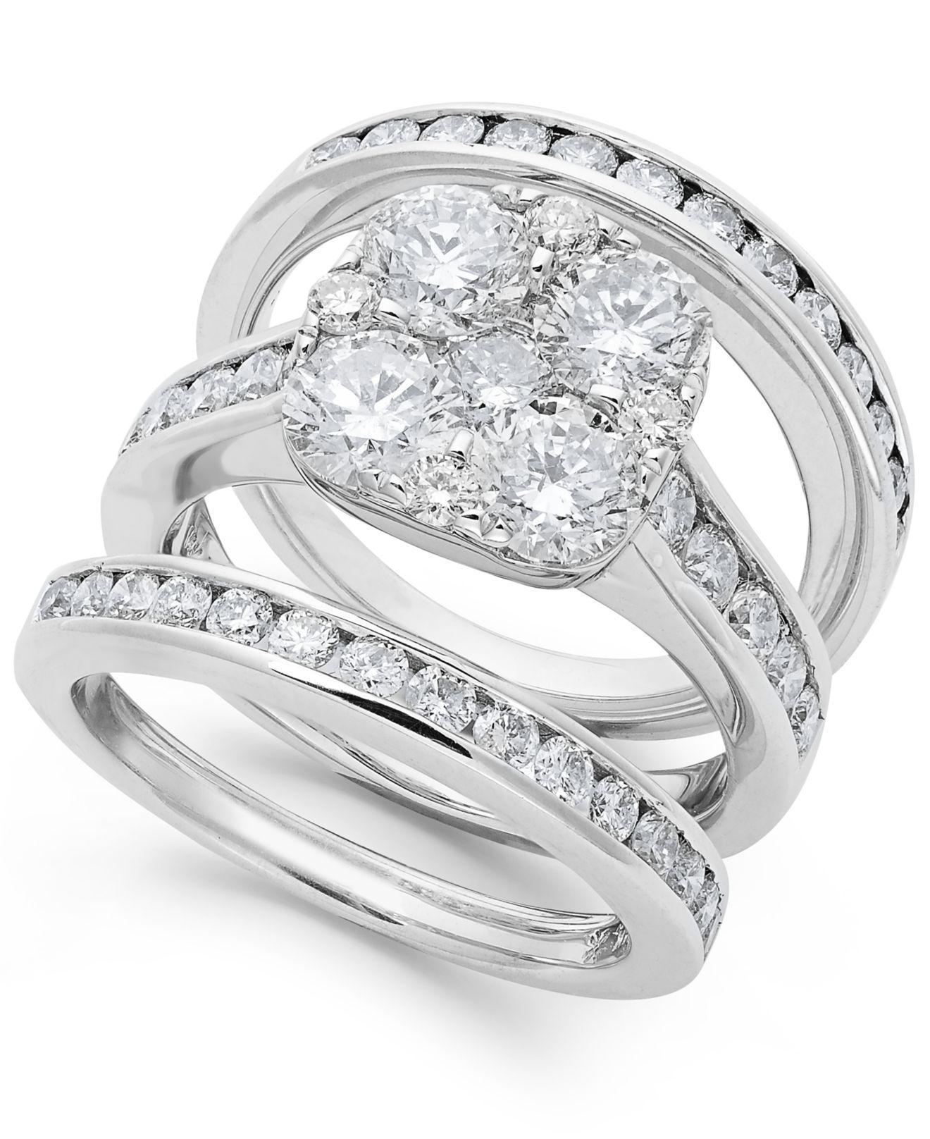 Macy s Diamond Bridal Set In 14k Gold 3 3 4 Ct T w in Metallic