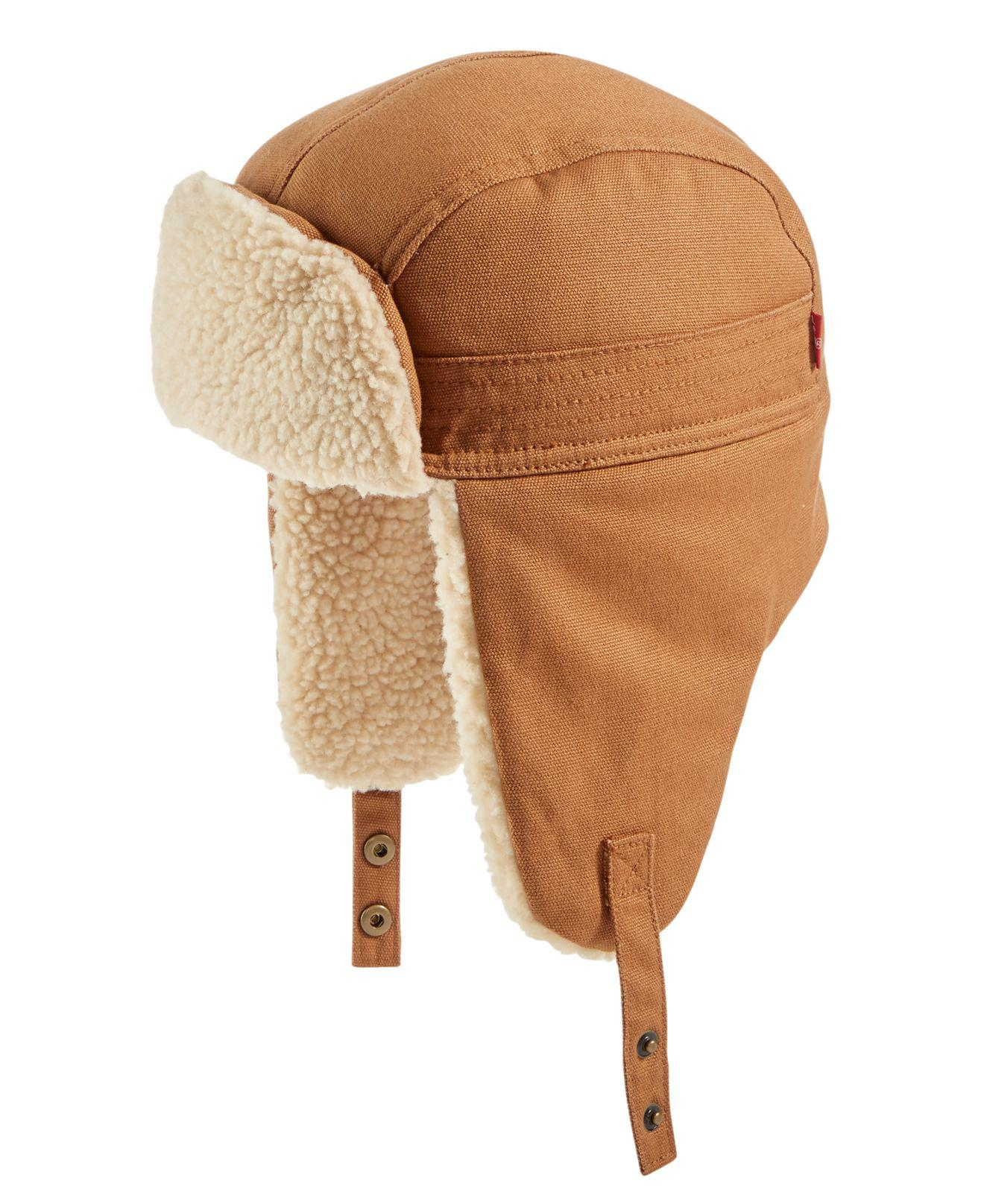 36c1b1b8a7144 Levi s Men s Waxed Canvas Fleece-lined Trapper Hat in Brown for Men ...