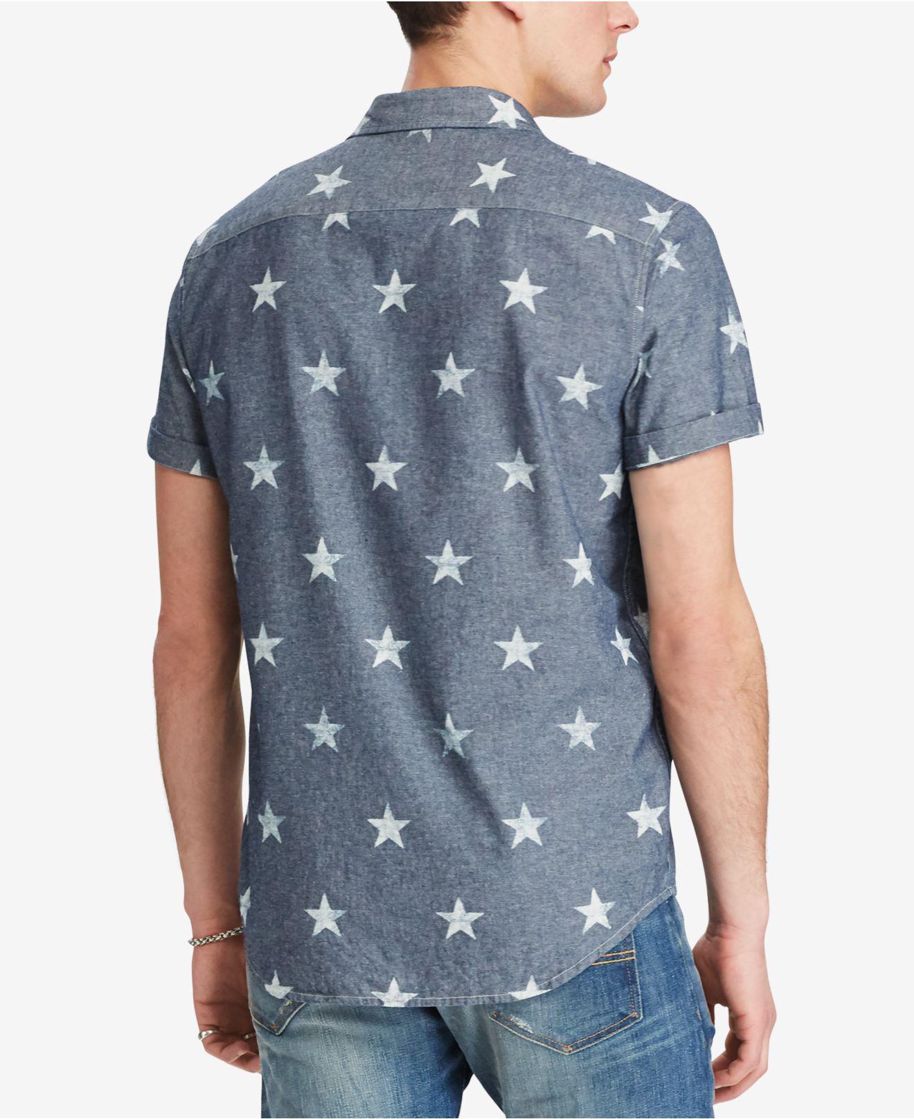342b5da6f Denim & Supply Ralph Lauren Men's Star-print Chambray Shirt in Blue ...
