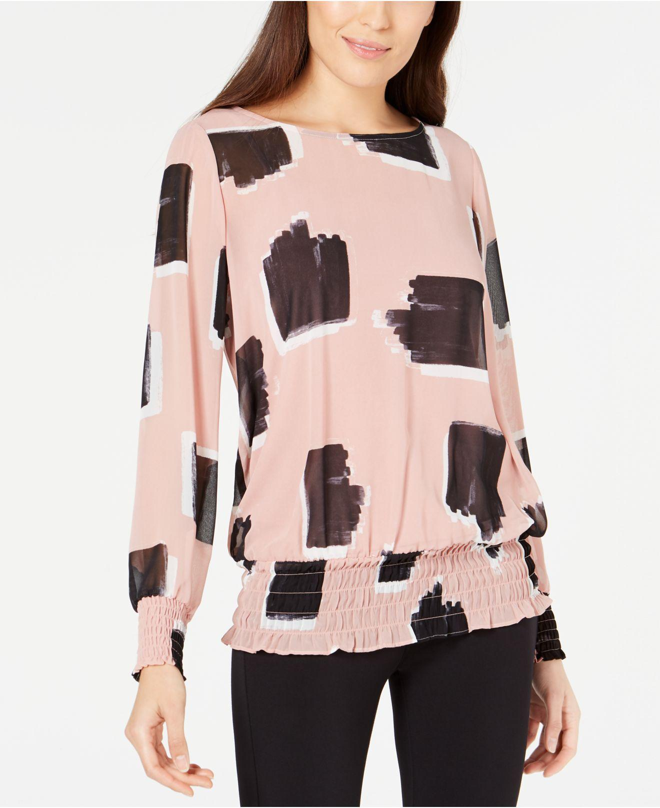 817bec91a83 Lyst - Alfani Petite Printed Smocked Top, Created For Macy's in Pink