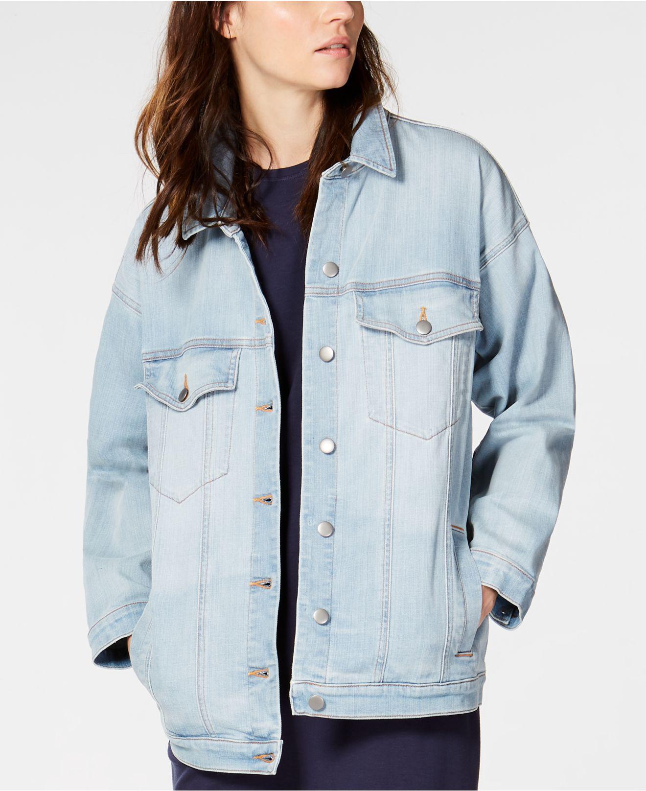 077eaeade3f Eileen Fisher. Women s Blue Organic Cotton Stretch Denim Oversized Classic-collar  Jean Jacket